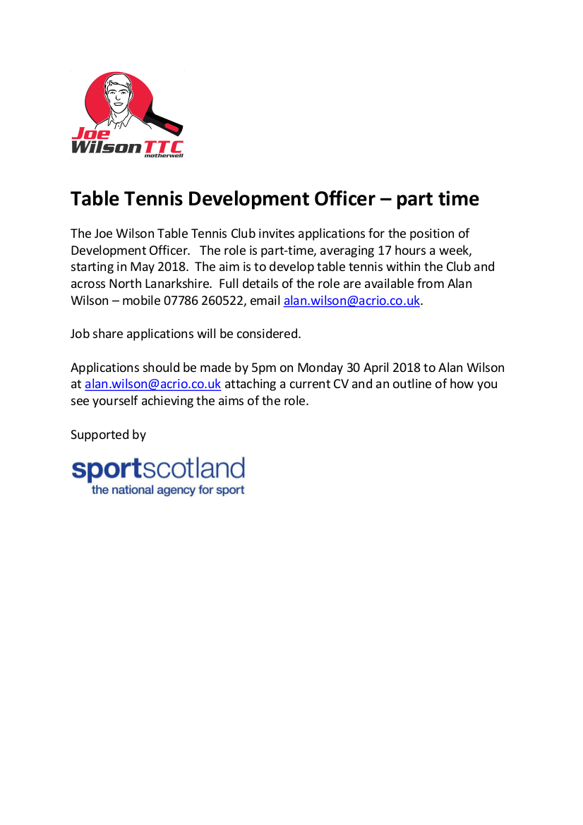 Table Tennis Development Officer - Part Time