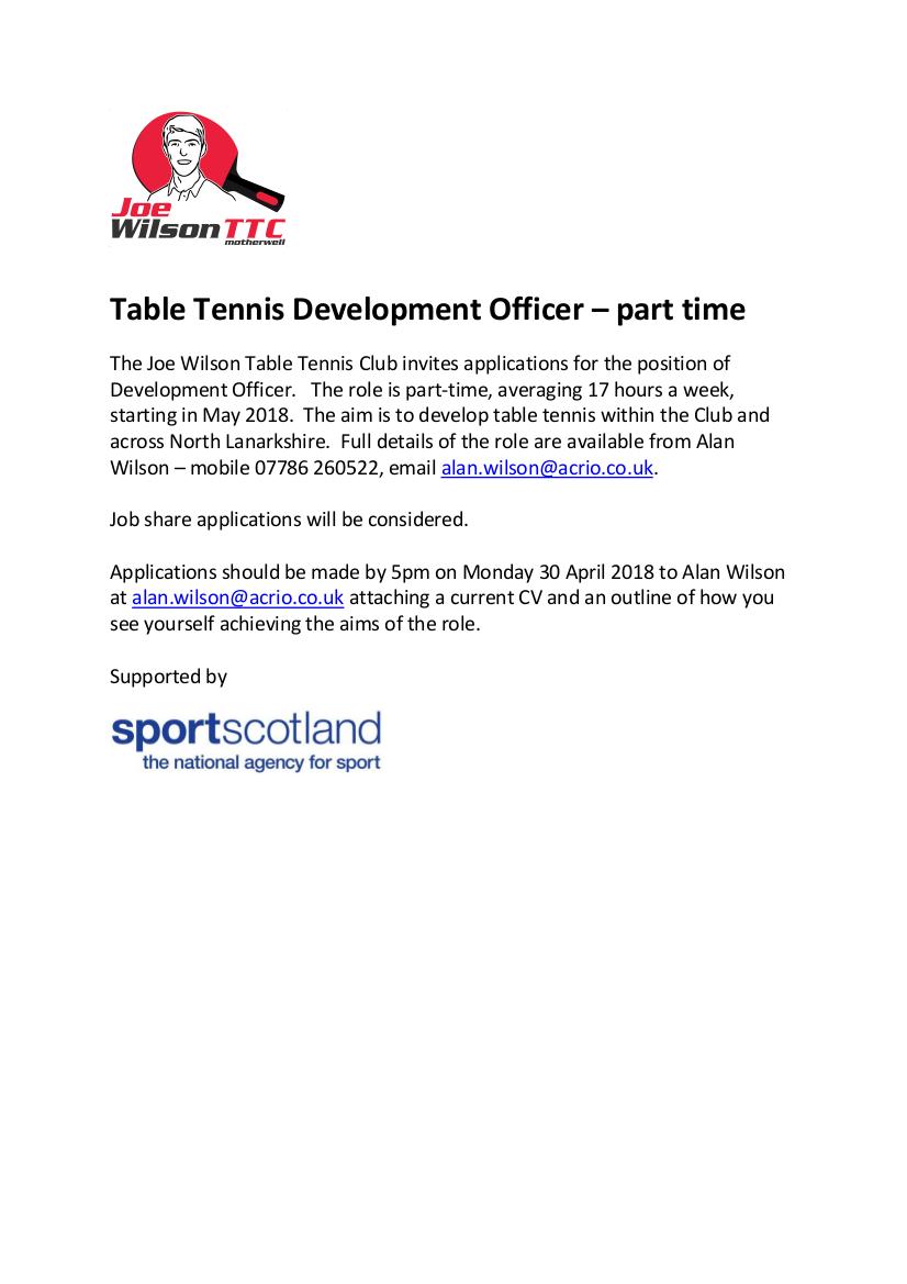 Table Tennis Development Officer - Part Time