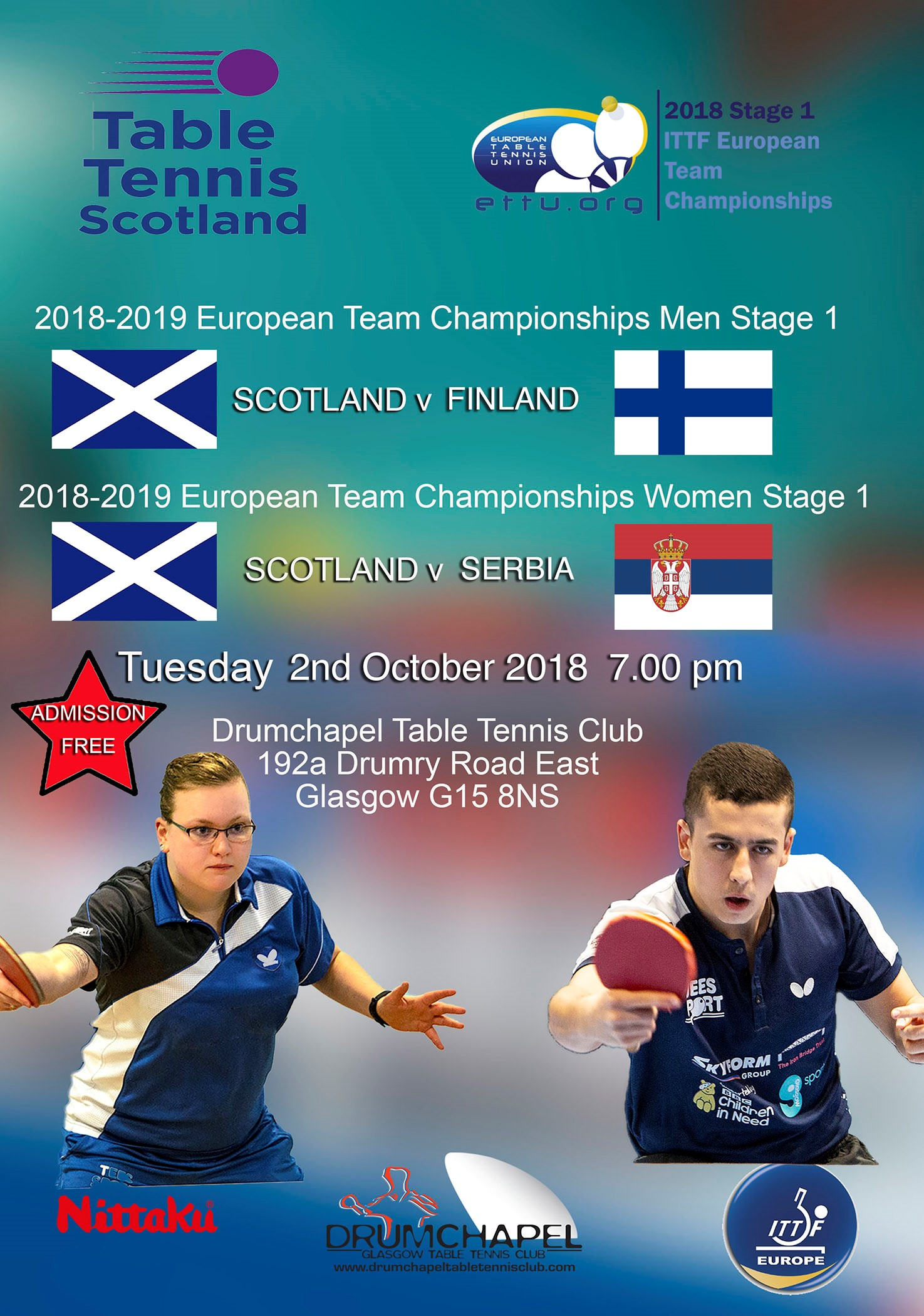 European Team Championship Matches Tuesday 2nd October Drumchapel