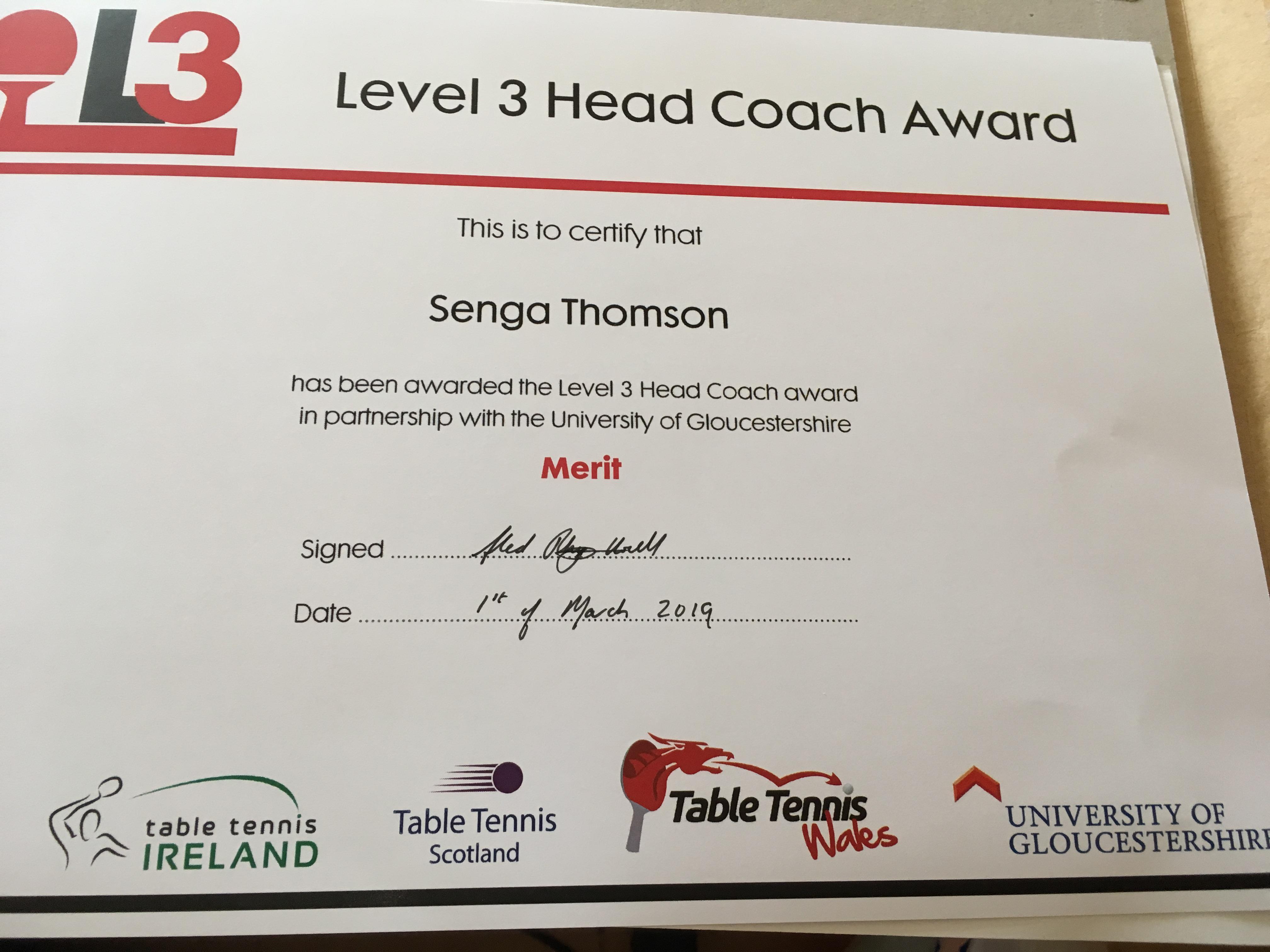 Congratulations to new Level 3 coaches